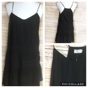 Frame Dresses - Frame black mini cotton lace panel dress SZ L